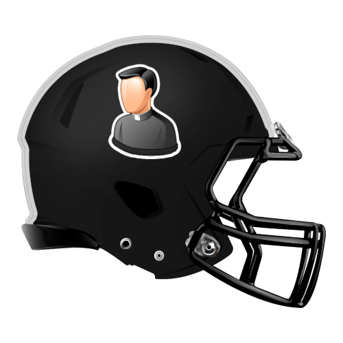 priest catholic religious religion fantasy football Logo helmet