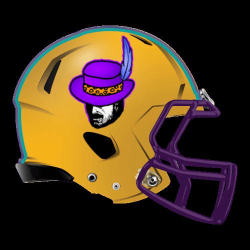 pimp hat feather fantasy football Logo helmet