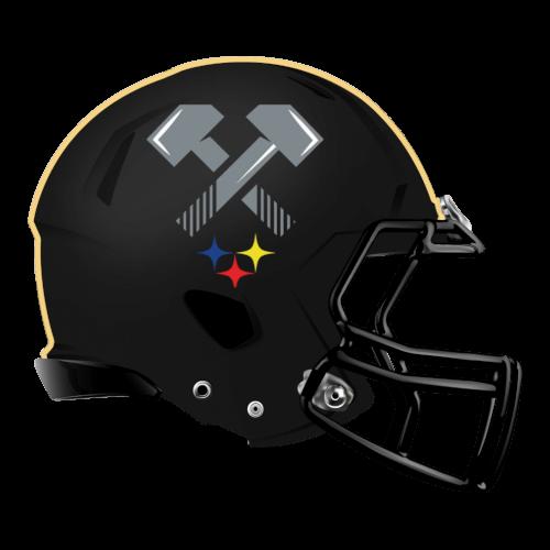 steel hammer  fantasy football Logo helmet