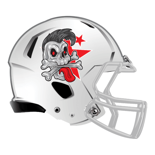 rock star skeleton fantasy football Logo helmet