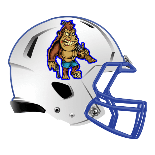 gorilla with guns fantasy football Logo helmet